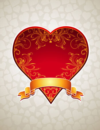 lovely red heart with golden ribbon Stock Vector - 8394645