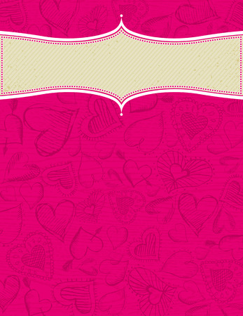 grunge wooden pink background with hand draw  hearts Vector