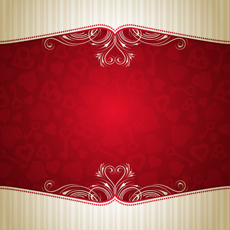 red valentine background with many hearts,  vector illustration