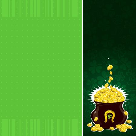 earthenware: fondo verde con shamrock y bote con monedas de oro