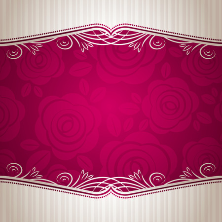 greeting card invitation wallpaper: pink valentine background with many roses,  vector illustration Illustration