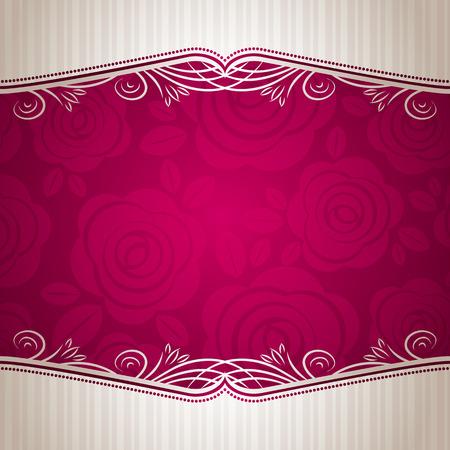 pink valentine background with many roses,  vector illustration Çizim