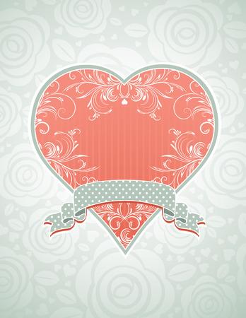 corazon rosa: Lovely coraz�n rosa con cinta gris, la ilustraci�n vectorial