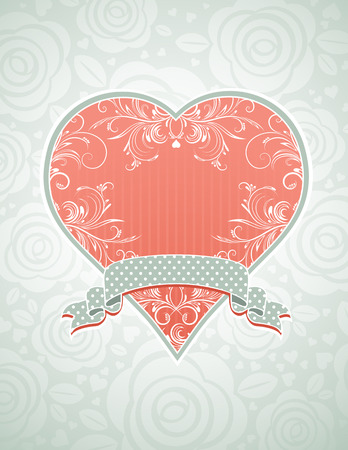 saint valentines: lovely pink heart with grey ribbon, vector illustration