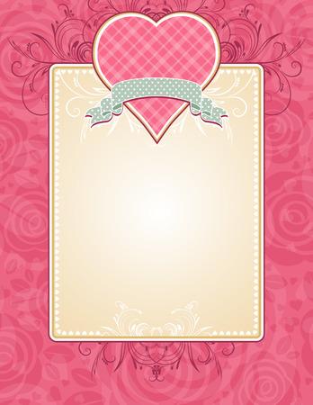 Lovely corazón rosa con cinta gris, la ilustración vectorial