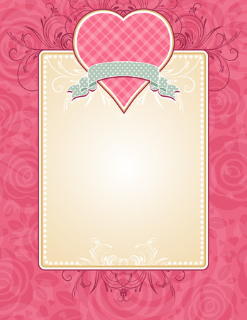 valentines holiday: lovely pink heart with grey ribbon, vector illustration