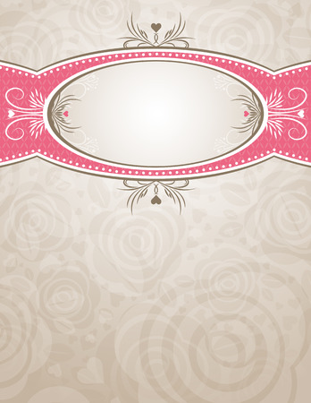 feb: circle label over beige background of roses,  illustration