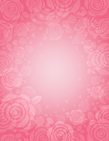 background with many pink roses,  illustration Vector