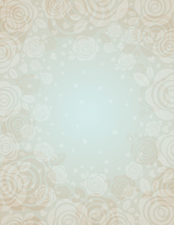 beige background with roses,  illustration Vector
