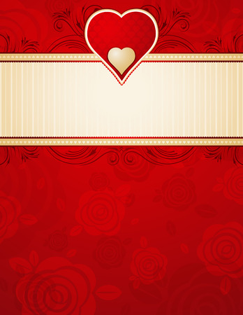red happiness: lovely red heart over background with roses,  illustration Illustration