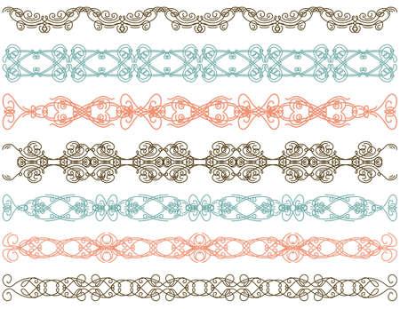 seven decorative lines  Vector