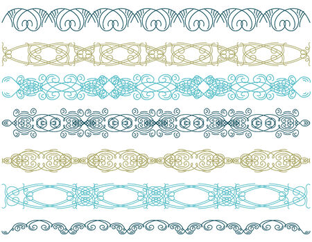 seven decorative lines  Vector