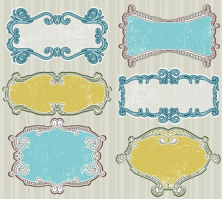 victorian fashion: decorative  labels suitable for design  Illustration