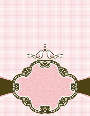 scrawl: hand draw  doves on pink checked background with decorative label