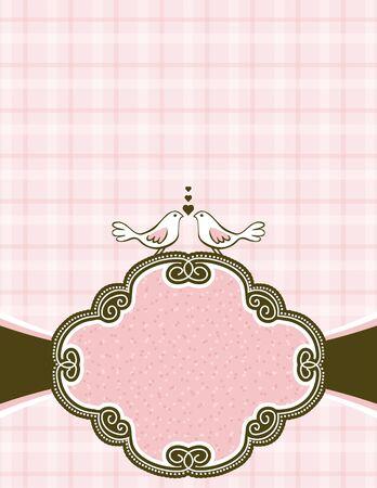 garabatos: mano dibujar las palomas en fondo de color rosado marcado con la etiqueta decorativa Vectores