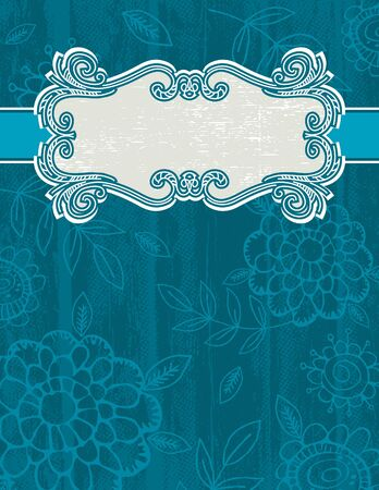 blue grunge background with decorative label Stock Vector - 9704469