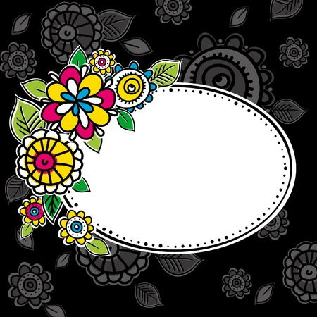 combine: hand draw flowers combine with circle frame