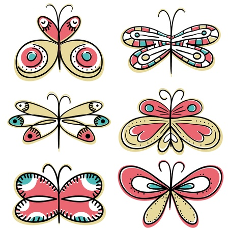 papillon rose: six papillons dessiner � main, illustration vectorielle