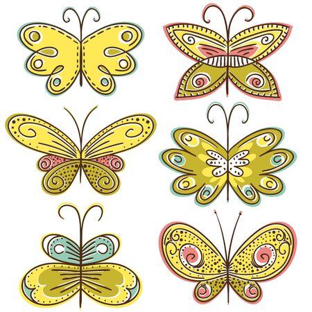 six hand draw butterflies, vector illustration Vector
