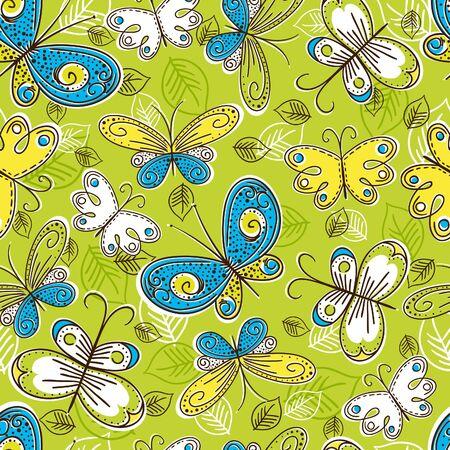 doodle art clipart: pattern of hand draw butterflies Illustration