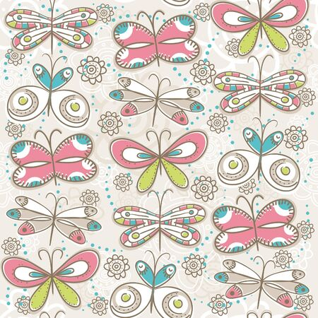 butterfly abstract: pattern of hand draw butterflies Illustration