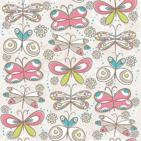 pattern of hand draw butterflies Vector