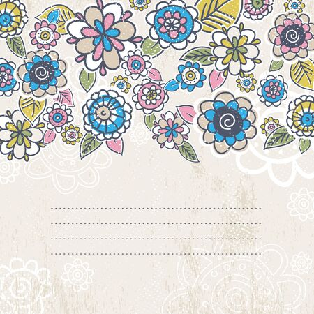 flower border pink: hand draw flowers on beige background, vector Illustration