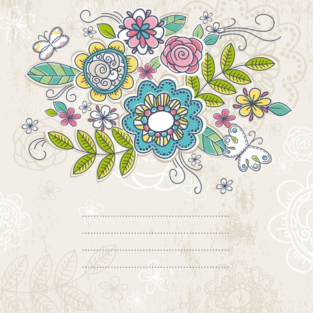 floral background: background of hand draw  flowers, vector illustration