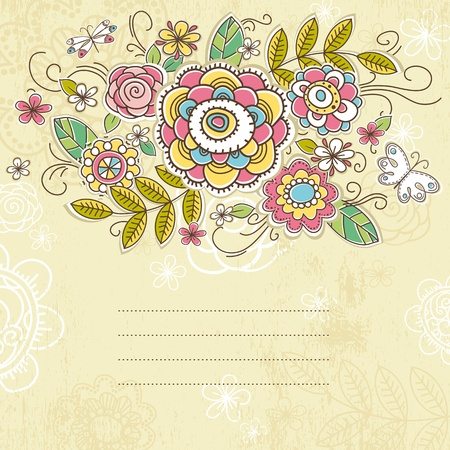 background of hand draw  flowers, vector illustration Stok Fotoğraf - 10503601