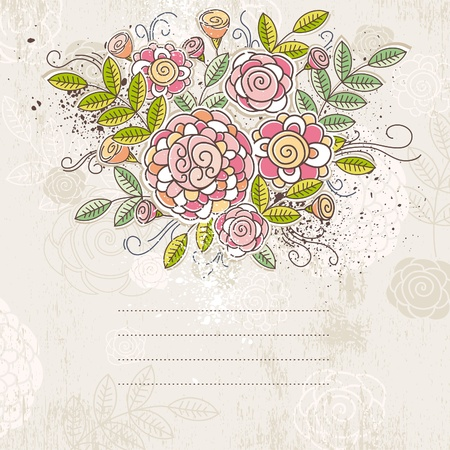 background of hand draw  flowers, vector illustration Stok Fotoğraf - 10503604