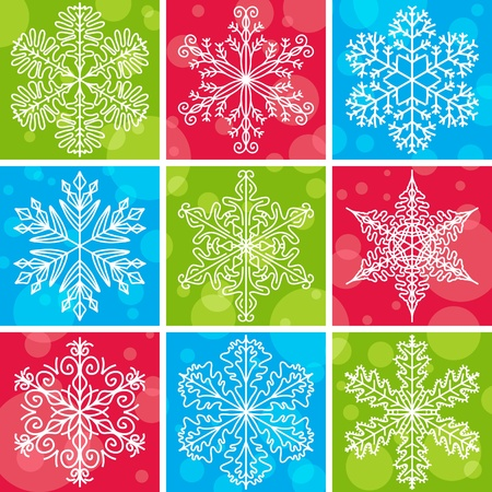 christmas background with snowflakes, vector illustration Çizim