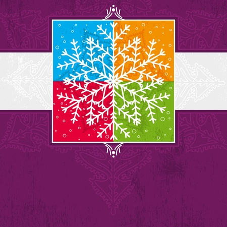 violet christmas card with snowflake, vector illustration Vector