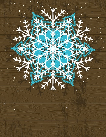 wooden christmas card with snowflake, vector illustration Vector