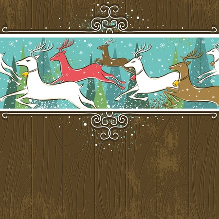 Running christmas deers in the forest,  vector illustration