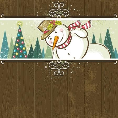 christmas background with snowman,  vector illustration Stok Fotoğraf - 10707951