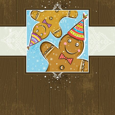 brown wooden christmas background with Gingerbread Man,  vector illustration Vector