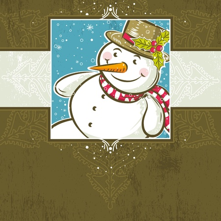 brown christmas background with snowman,  vector illustration Vector