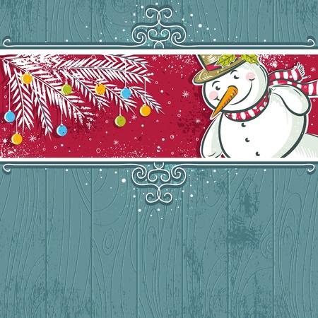 scrawl: sfondo Natale con il pupazzo di neve