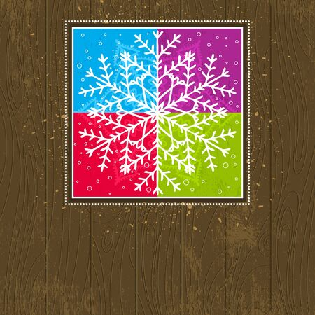 wooden christmas card with snowflakes Vector