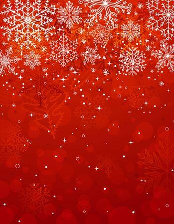 눈송이와 빨간 크리스마스 배경