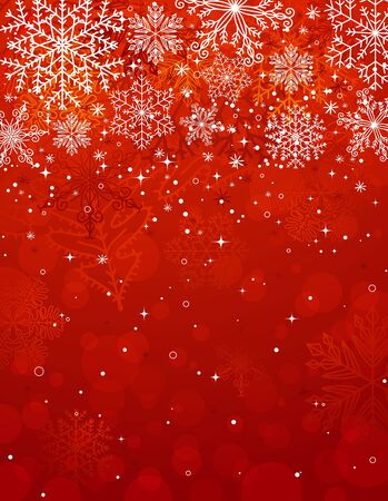christmas flake: red christmas background with snowflakes Illustration