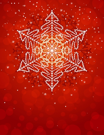 red christmas card with snowflake Vector