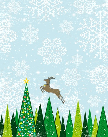 Running deer in the christmas forest