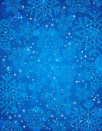 blue christmas background with snowflakes, vector illustration Vector