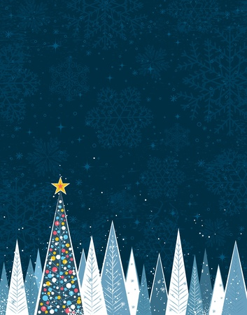 christmas forest in the night,  illustration Vector
