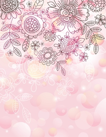 natural color: pink background with hand draw  flowersEPS10. Contains transparent objects Illustration