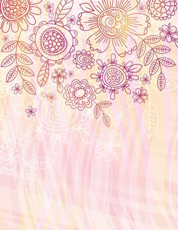 pink background with hand draw flowersEPS10. Contains transparent objects