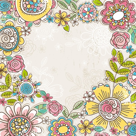 valentine heart of color flowers,  vector illustration