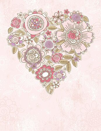 pink background with valentine heart of spring flowers,  vector illustration Vector
