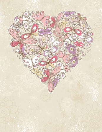 grunge background with valentine heart of butterflies,  vector illustration